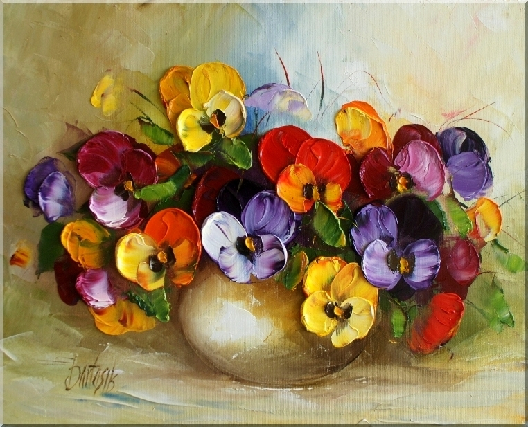 Цветы картины маслом мастихином